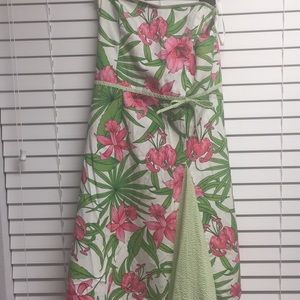 🌺 Floral w Seer Sucker Trim Preppy Dress